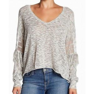 NWT Wildfox Grey fringe sweater size L